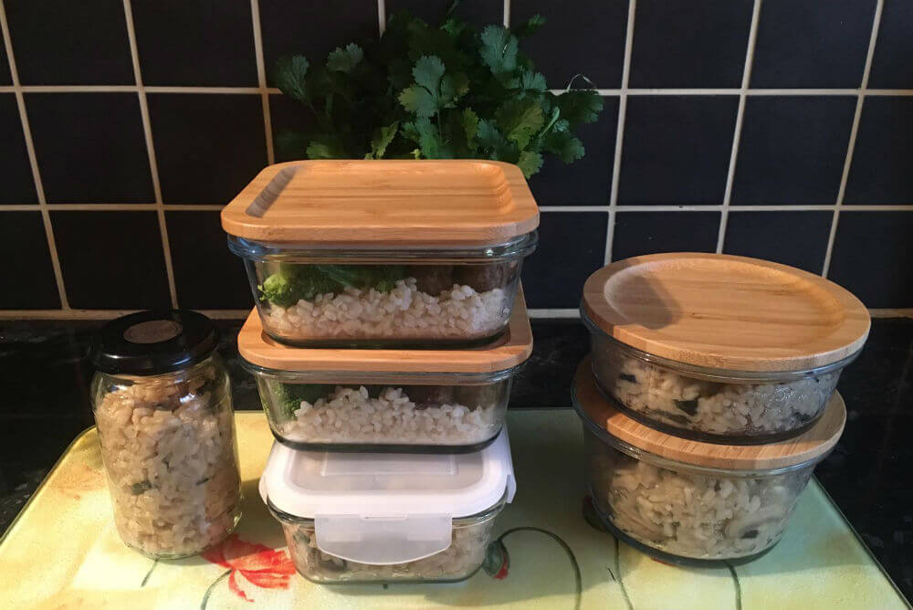 Bamboo and glass tupperware
