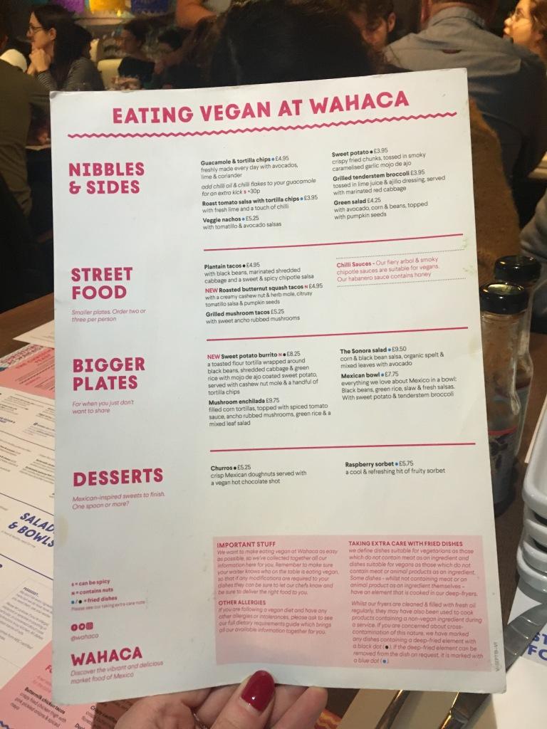 Wahaca vegan menu